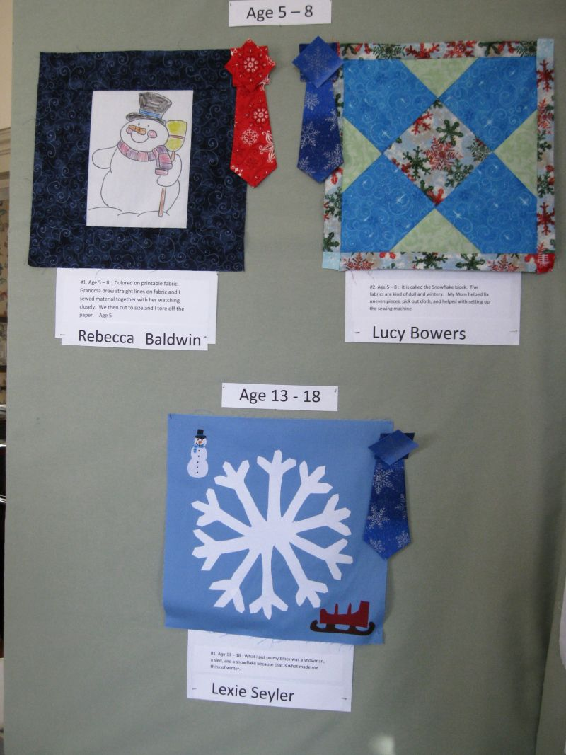 Quilt Block Contest Entries Ages 5-8, Ages 13-18