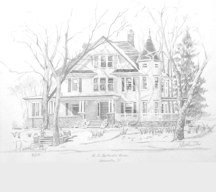 pencial drawing of late Victorian three story home, front view in snow, bare trees, wraparound porch, corner turret