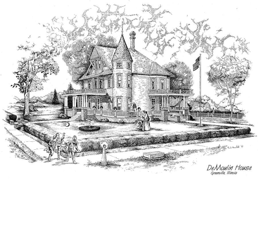 pen ink drawing of late Victorian three story residence, corner turret, wraparound porch, ladies in long skirts, children playing